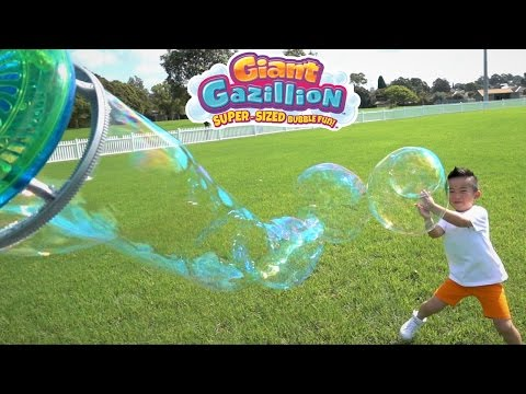 Make GIANT BUBBLES With Gazillion Power Wand And Bubble Mill Super Sized Bubble Fun With Ckn Toys
