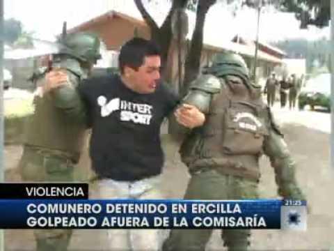 Brutal golpiza de policia militarizada a joven mapuche