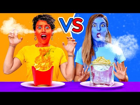 EATING ONLY HOT vs COLD FOOD FOR 24 HOURS Last To STOP Eating Wins DIY Pranks by 123 GO CHALLENGE