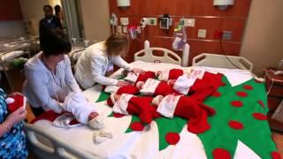 Mount Auburn Hospital Newborn Babies in Christmas Stockings event.