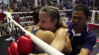 Laura (Sinbi Muay Thai- Red corner) fights at Bangla Stadium- 19.4.2017