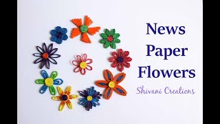 How to make Ten Different Newspaper flowers/ DIY Paper Flowers