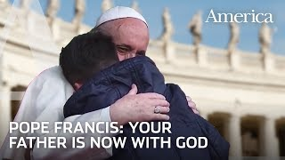 Young boy asks Pope Francis: Is my father in heaven?