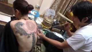 Backward Looking Tigers Sak Yant Tattoo - Arjan Pi Bangkating - Thailand