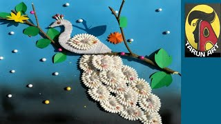 Easy wall hanging craft ideas.// Peacock craft Making using cotton ear buds and wool// Tarun Art