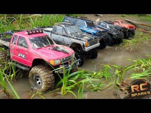 RC ADVENTURES 6 Scale RC 4x4 Trucks in MUD DIRT & a Forest Group Trail Gathering GTG