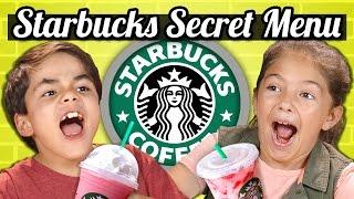 KIDS DRINK THE STARBUCKS SECRET MENU! (Butterbeer, Skittles, Pink Drink) | Kids Vs. Food