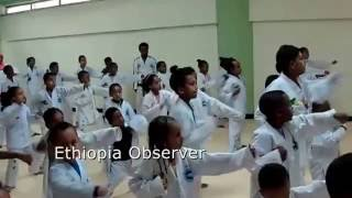 Master Abdi and young Karate enthusiasts at Adot Multiplex in Bisrate Gabriel area