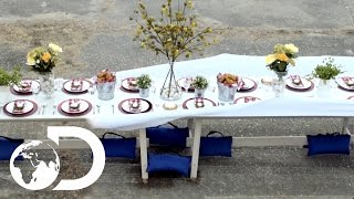 Whipping Off a Tablecloth with a Race Car | Street Science