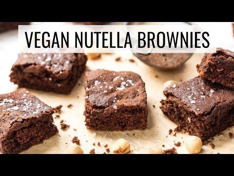 VEGAN NUTELLA BROWNIES 😍healthy & gluten-free
