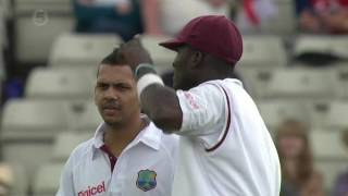 Sunil Narine Bowls his 1st Ball in Test Match v England 3rd Test 2012