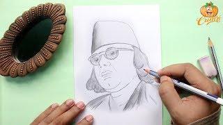 How To Draw Kazi Nazrul Islam Step By Step | Pencil Sketch Of Kazi Nazrul Islam