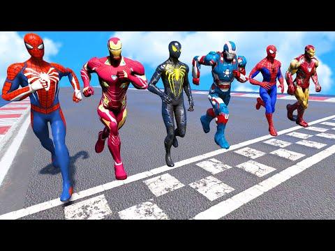 TEAM IRONMAN VS TEAM SPIDER MAN Running Challenge 4 Funny Contest GTA V Mods