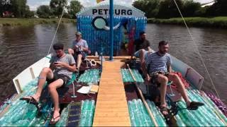 Crazy guys, made boat of empty plastic bottles.