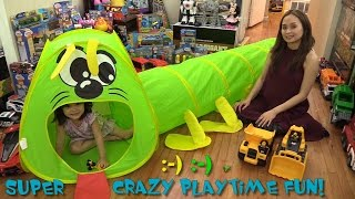 Toy Playtime Fun! A Caterpillay Play Tent and Caterpillar Contruction Trucks Unboxing w/ Maya