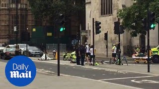 Paramedics treat cyclists after Westminster terror attack - Daily Mail