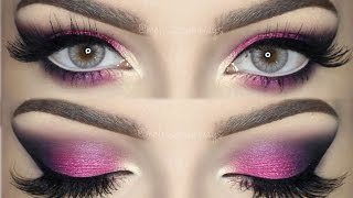 ♡ Pink, Violet and Black Smokey Eye | Bright & Colorful Makeup TUTORIAL ♡ (English)