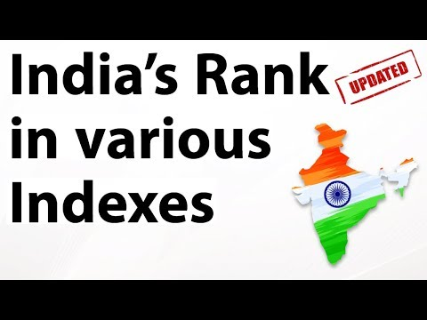 India s rank in various indexes 2018 Updated & Latest till December 2018 Current affairs 2018