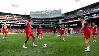 Liverpool FC train at Fenway Park ahead of Sevilla friendly