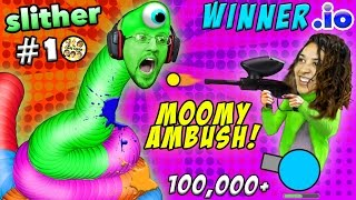 WINNER.IO HIGHEST SCORE EVER on Slither.io #10 Ruined by Prank Mom (FGTEEV 3x Win Diep.io)