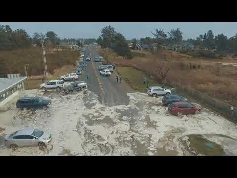 Storm Surge High Tide Ocean Park Wa Beach Approach Cars Scrambling Today 1 18 2018