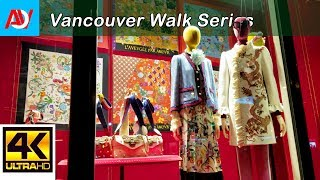 Vancouver WALK: WEST GEORGIA STREET (NIGHT) Heading East from Burrard to Georgia Viaduct - 4K