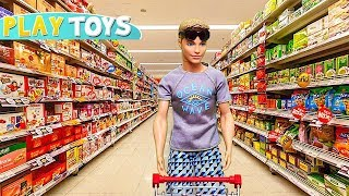 Ken Supermarket Grocery shopping for Barbie Doll Morning routine w/ Pink Car Toy by Play Toys!