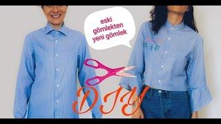 ESKİ GÖMLEKTEN YENİ GÖMLEK YAPIMI/ Kendin Yap / DIY Men´s Shirt Turned Into a Women´s Shirt