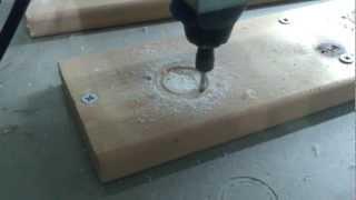 DIY CNC Machine cutting 20mm wood using a Dremel
