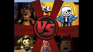 Neighbor Vs Bendy Vs Freddy Vs Cuphead Vs Sans Vs Mama (IndieGame War) Animation Battles 30