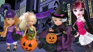 Anna and Elsa Toddlers Trick or Treating Halloween Haunted Barbie Chelsea Frozen Doll Toys In Action