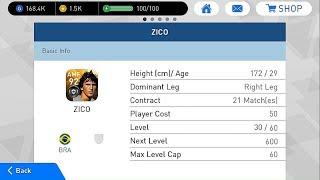 Zico Stats • Level 1 vs 30 vs 45 vs 60