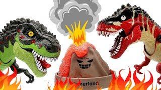 5 Tyrannosaurus Rex With Angry Volcano Eruption! Dinosaur Fun Video Dino Toys For Kids