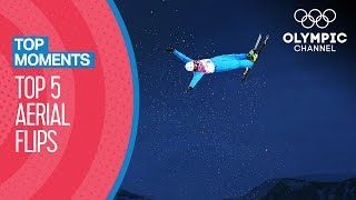 Top 5 Aerial Flips in Olympic Freestyle Skiing | Top Moments