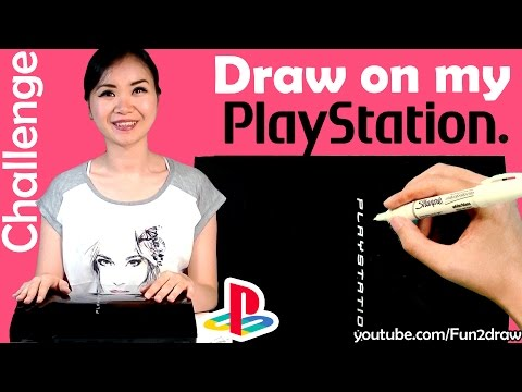Art Video Draw on PlayStation with WHITE SHARPIE Challenge