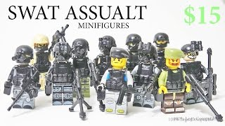 Lego SWAT Team modern warfare army minifigure Toy w/ brickarms guns Knockoff from China  - Review