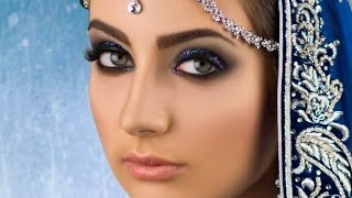Smokey Eye with Blue Glitter - Bold Asian Bridal Makeup