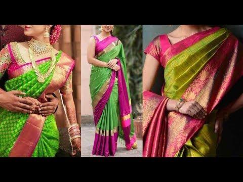 Xxx Mp4 Green Kanchipuram Designer Silk Sarees And Blouse Color Combinations Million Designs 3gp Sex