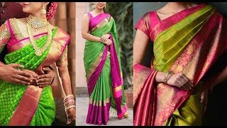 Green Kanchipuram Designer Silk Sarees and Blouse Color combinations|Million Designs