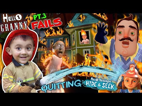 HELLO NEIGHBOR ON FIRE Saved by Fireman Shawn FGTEEV Part 3 s of Hello Granny & Hide & Seek