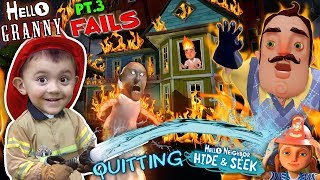 HELLO NEIGHBOR ON FIRE! Saved by Fireman Shawn (FGTEEV Part 3