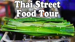 Street Food at a Night Market in Thailand. Thai Street Food Tour.