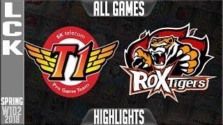 SKT vs ROX Highlights ALL GAMES   LCK Spring 2018 S8 W1D2   SK Telecom T1 vs ROX Tigers