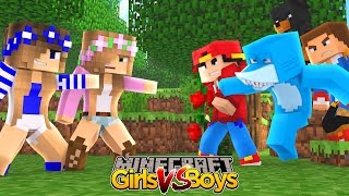 Minecraft - Little Kelly : GIRLS VS BOYS!