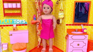 Baby Doll Bathroom * Play AG Doll morning routine, bedroom, bathroom in the dollhouse
