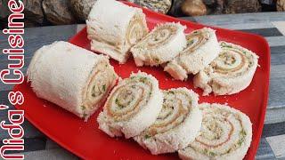 Bread Chicken Swiss Roll - Bread pinwheel recipe - Nida