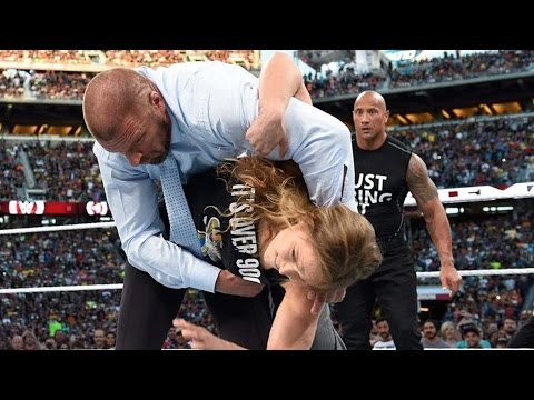 Xxx Mp4 The Rock Amp Ronda Rousey Destroy Triple H Amp Stephanie McMahon 3gp Sex
