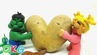 Green and Yellow Baby GARDENING HEART ❤️ POTATO - Stop Motion Cartoons For Kids