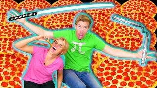 100 LAYERS of PIZZA vs NINJA WEAPONS -  TMNT Teenage Mutant Ninja Turtles IRL