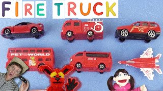 Learning Red Color with Cars, Trucks |  FIRE TRUCK First Words #10 | Learn English, Matt VS Truck